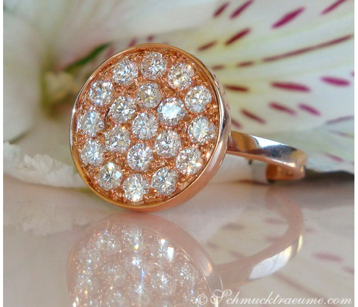 Unusual Diamond Ring in Rose Gold