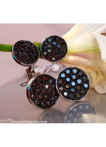 Interesting Hanging Earrings with Black Diamonds