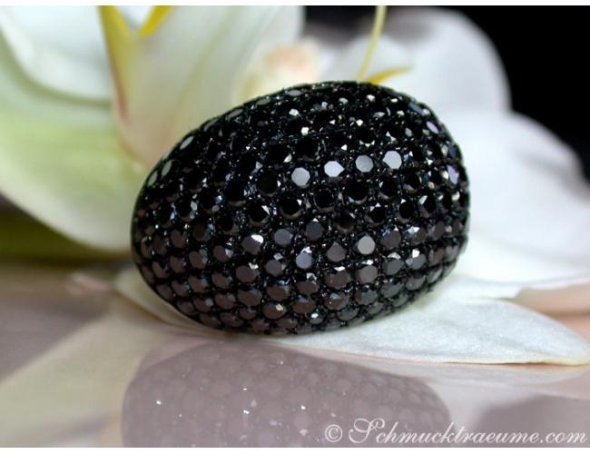 Huge Black Diamond Dome Ring
