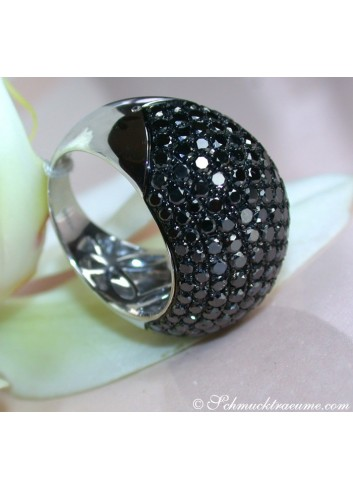 Huge Black Diamond Dome Ring