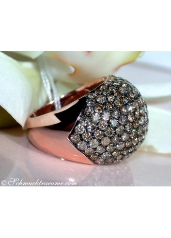 Huge Natural Brown Diamond Dome Ring