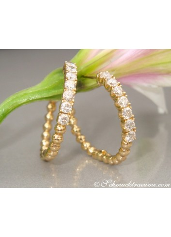 Attractive Diamond Hoop Earrings (Ø 25 mm)
