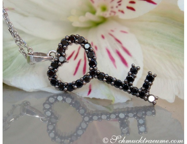 Cute Black Diamond Key Pendant