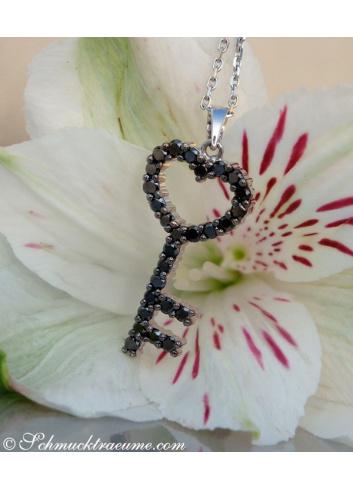 Cute Black Diamond Key Pendant