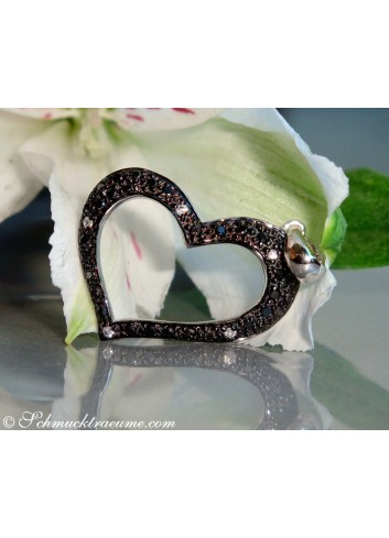 Cute Black Diamond Heart Pendant