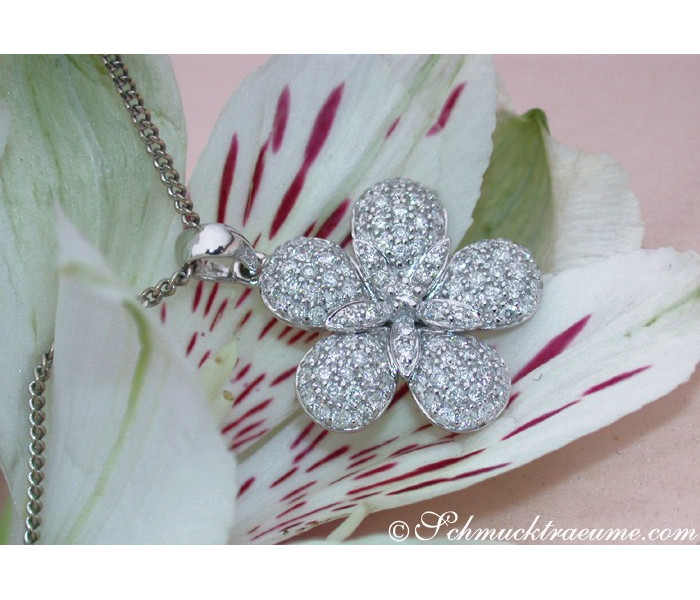 Feminine Diamond Flower Pendant