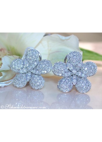 Feminine Diamond Flower Studs