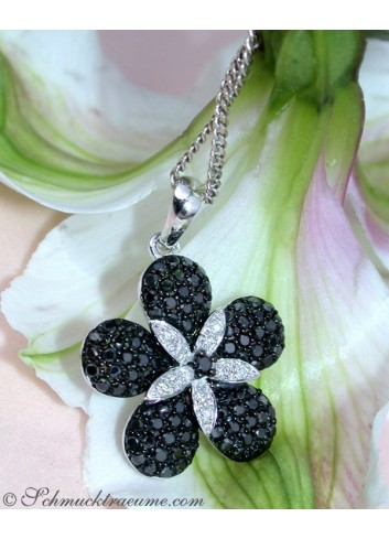 Black & White Diamond Flower Pendant