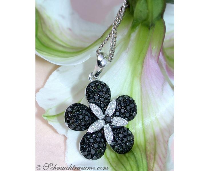 Radiant Black & White Diamond Flower Pendant