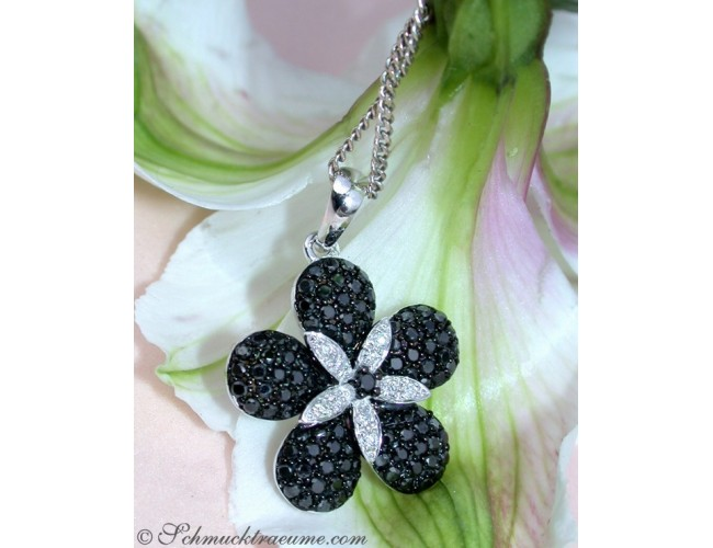 Radiant Black & White Diamond Flower Pendant