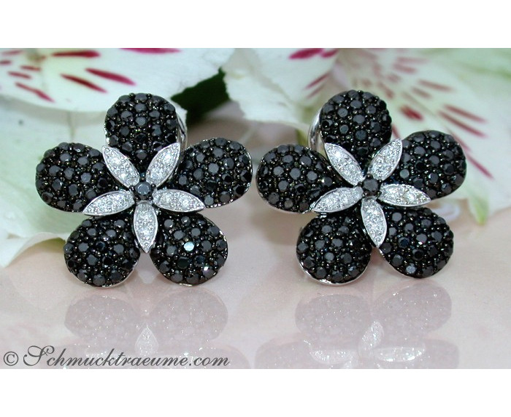 Black & White Diamond Flower Studs