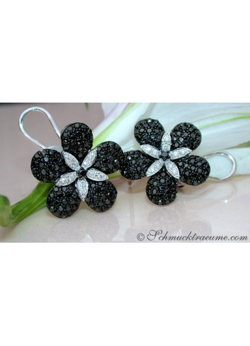 Black & White Diamond Flower Studs