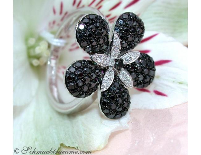 Pretty Black & White Diamond Flower Ring