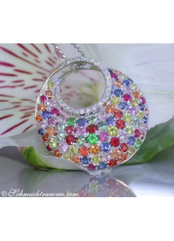 Rainbow Sapphire Pendant with Diamonds