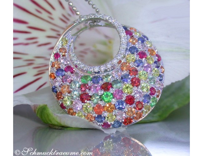 Magnificent Rainbow Sapphire Pendant with Diamonds