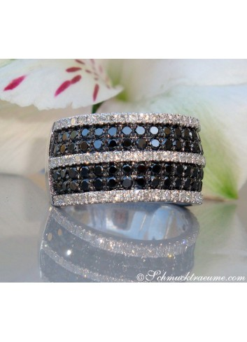 Precious Black & White Diamond Ring