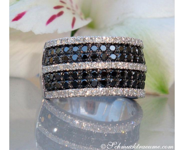 Precious Black & White Diamond Ring
