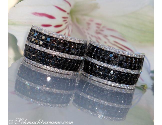Casual Smart Black & White Diamond Earrings
