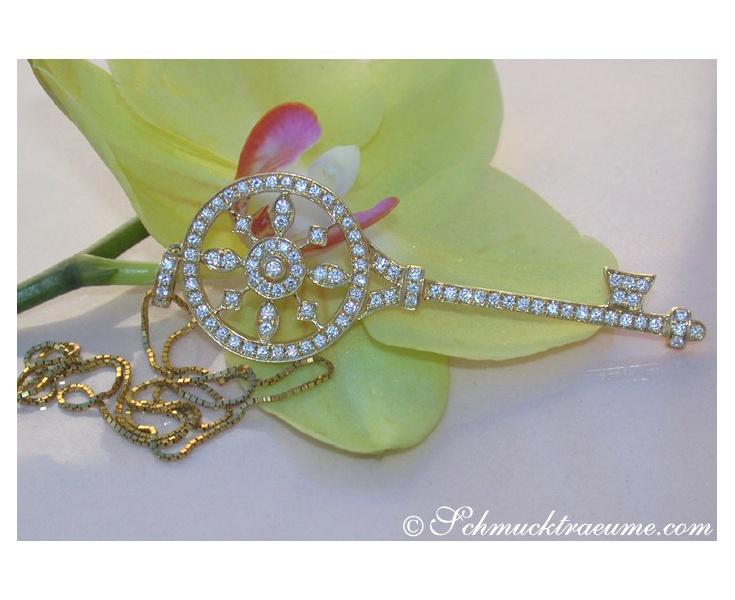 Huge Diamond Key Pendant incl. Chain