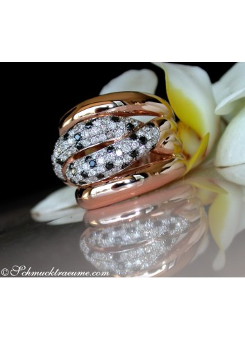 Solid ring with black diamond, natural brown & white diamonds