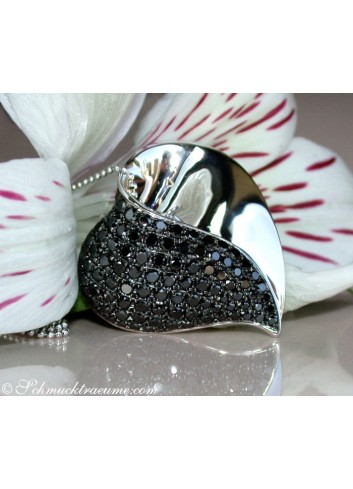 Fancy Black Diamond Heart Pendant