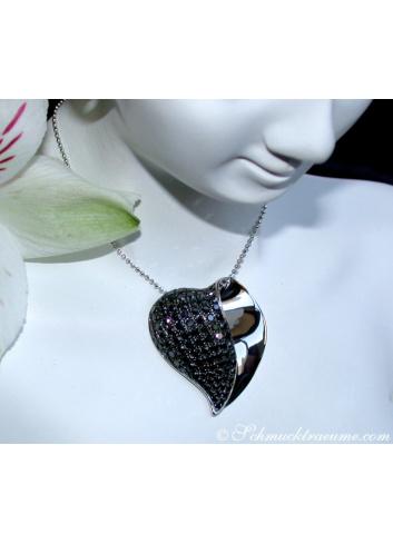 Fancy Black Diamond Heart Pendant