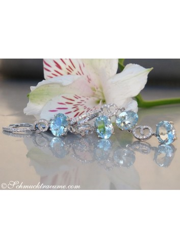 Charming Aquamarine Diamond Dangling Earrings