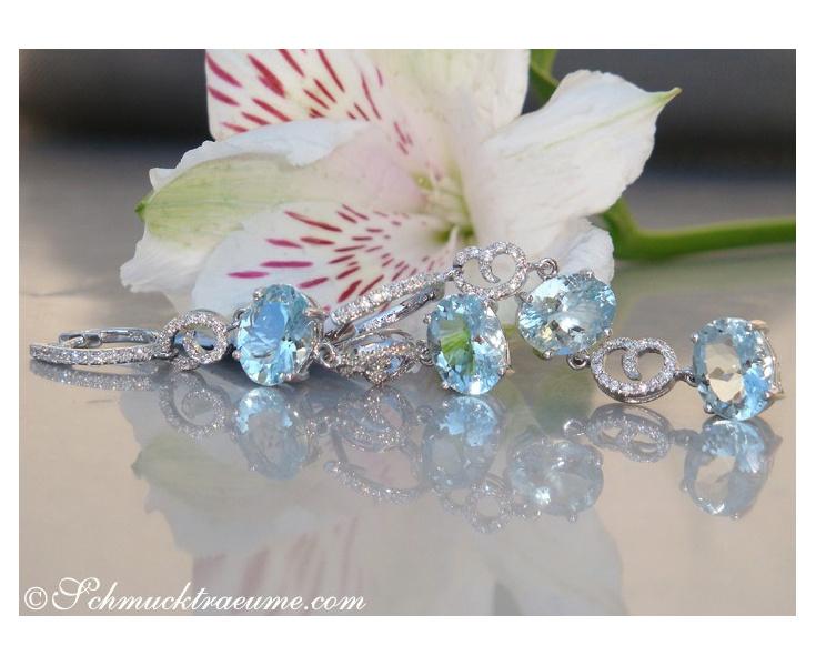 Charming Aquamarine Diamond Dangling Earrings