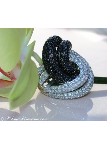 Extra Large Black & White Diamond Ring