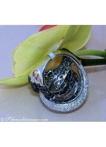 Extra Large Black & White Diamond Ring