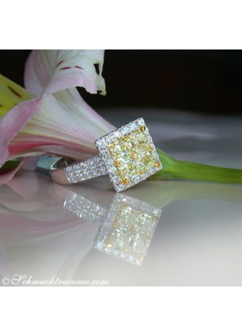 Exquisite Yellow Diamond Ring with White Diamonds