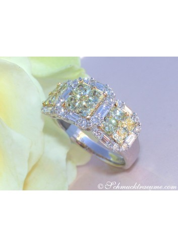 Gelbe Diamanten Ring mit Brillanten Ring
