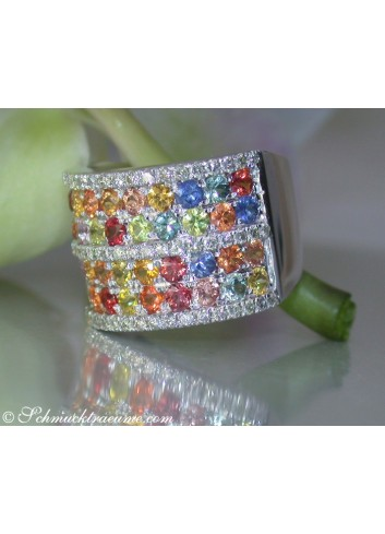 Regenbogen / Multicolor Saphir Brillanten Ring