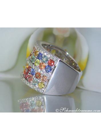 Rainbow Sapphire Diamond Ring