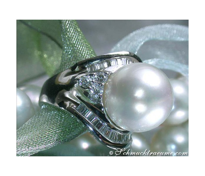 Noble South Sea Pearl Ring with Diamonds