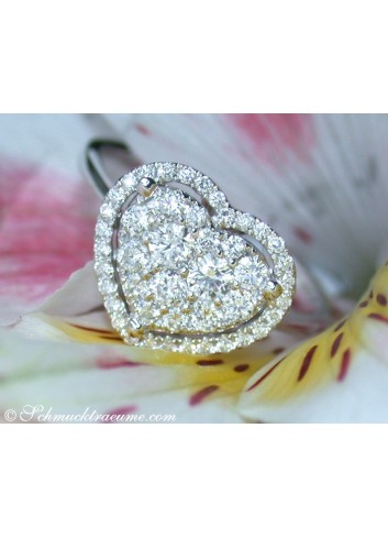 Elegant Diamond Ring in Heart Design