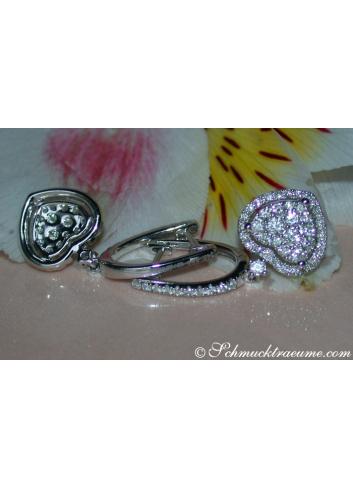 Elegant Diamond Heart Earrings