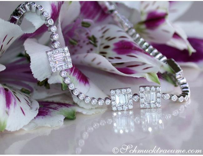 Brillanten Armband mit Diamanten im Baguette-Schliff