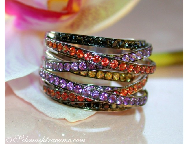Multi Row Ring with Black Diamonds, Amethysts & Sapphires