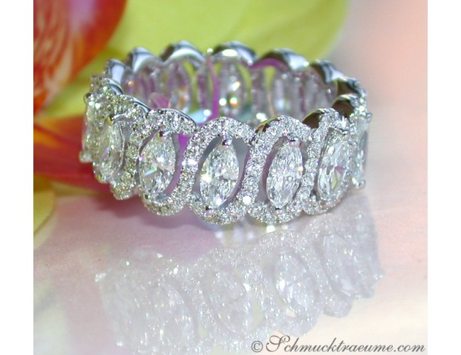 Magnificent diamonds eternity ring with marquise diamonds