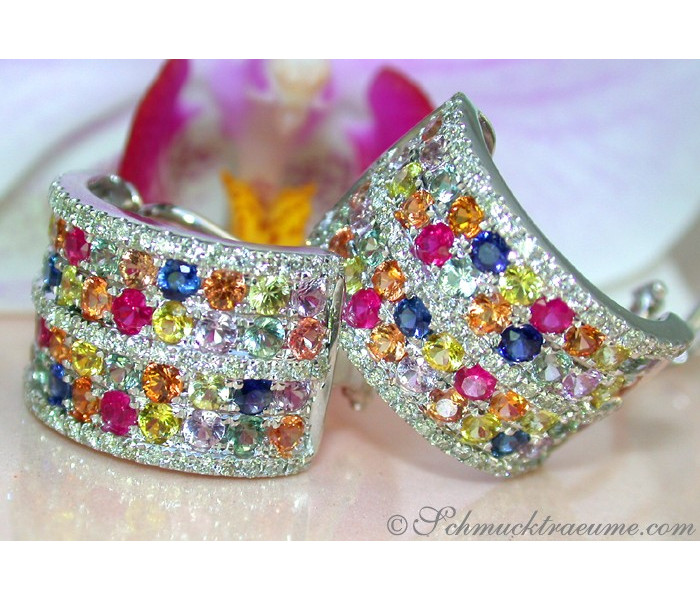 Dazzling Rainbow Sapphire Earrings with Diamonds