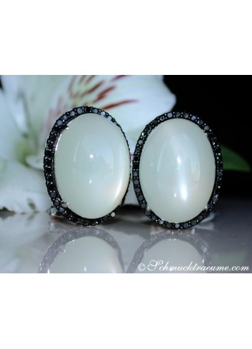 Fancy Moonstone Earrings with Black Diamonds