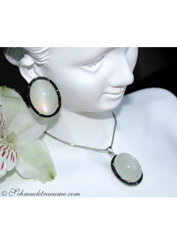 Fancy Moonstone Earrings with Black Diamonds