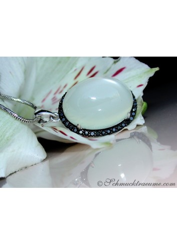 Fancy Moonstone Pendant with Black Diamonds