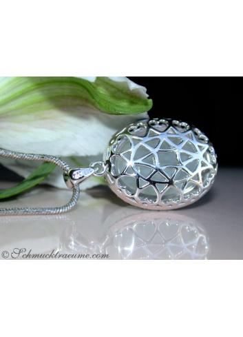 Fancy Moonstone Pendant with Black Diamonds