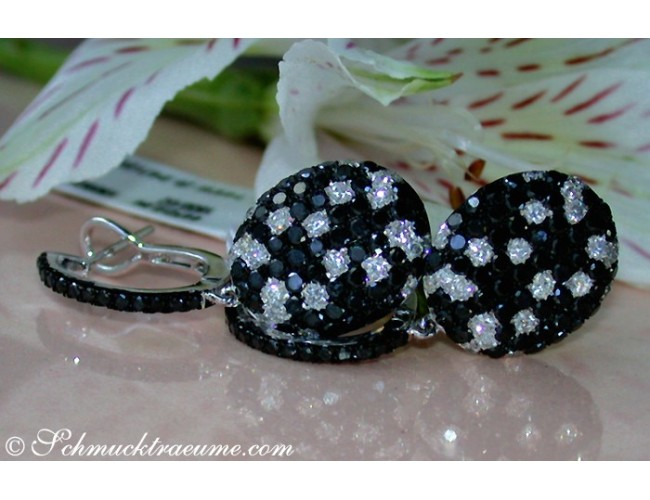 Pretty Black & White Diamond Earrings