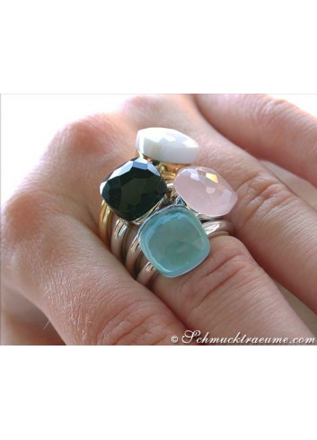 nudo ring blautopas rosenquarz