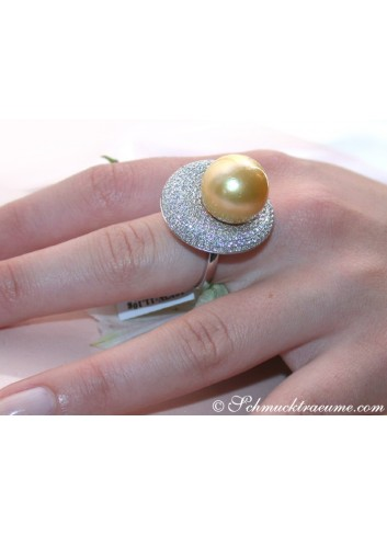 Brillanten Ring mit goldener Südseeperle
