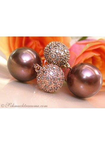 Pretty Earrings with Bronze Tahitian Pearls & Natural Brown Diamonds