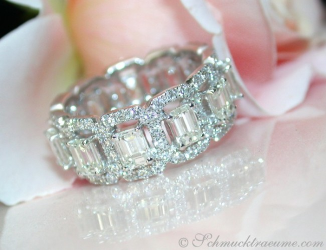 Exquisite Diamond Eternity Ring with Emerald Cut Diamonds